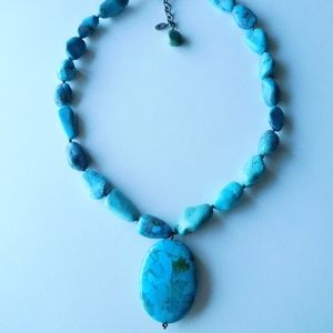 chunky BARSE sterling and TURQUOISE bead necklace